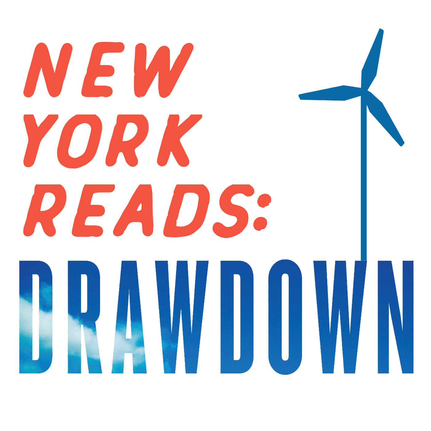 NY Reads: Drawdown logo with wind tower