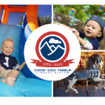 65th logo, boy on inflatable slide, boy with bubbles, and carousel horse