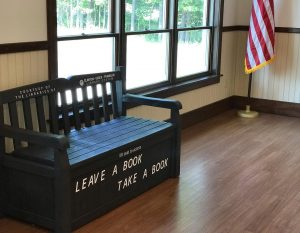 Book bench in Minerva, NY